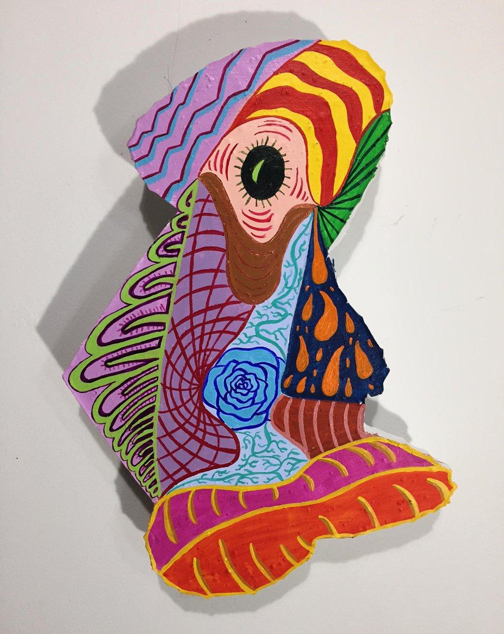 """""""Long Face"""" Acrylic"""" Acrylic on Plaster 5x11"""