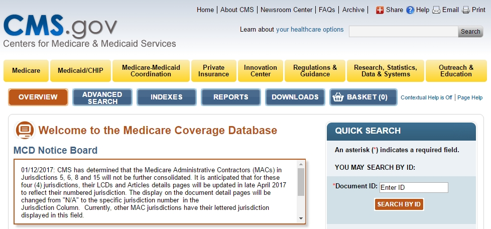 CMS Medicare Coverage Database (Search)