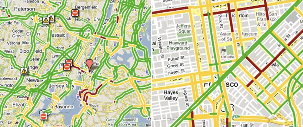 and red yellow and green lines would show us traffic while also hiding the roads the traffic was on along with the rest of the map
