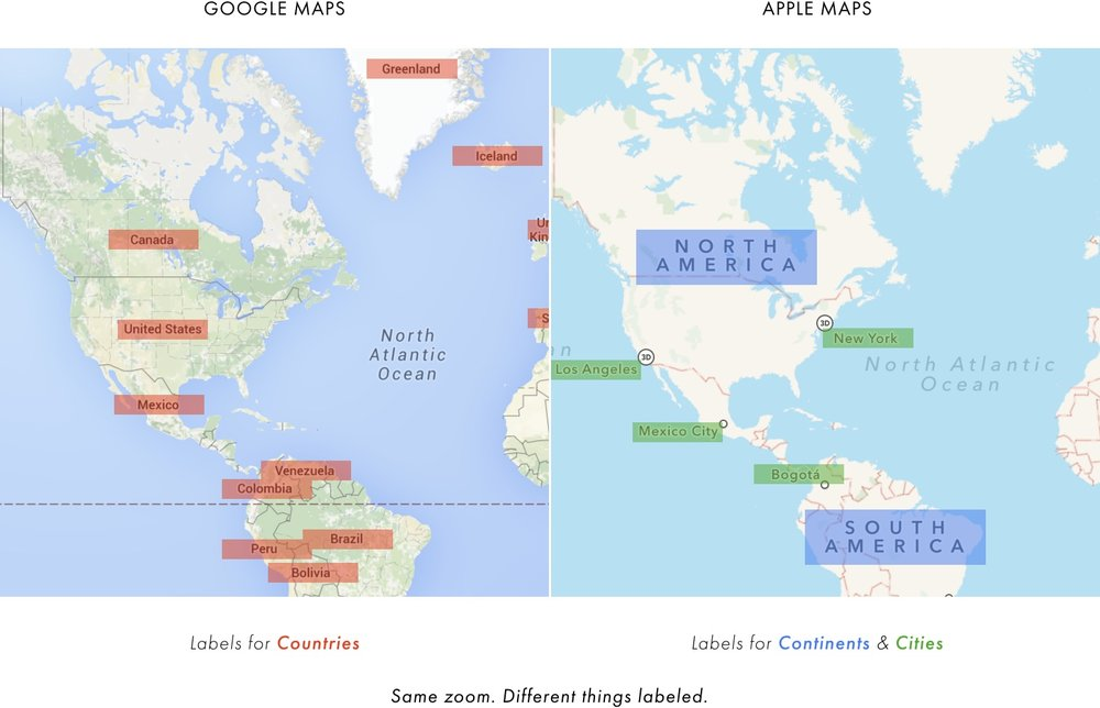 Cartography comparison google maps apple maps to even whats labeled on the maps themselves gumiabroncs Choice Image