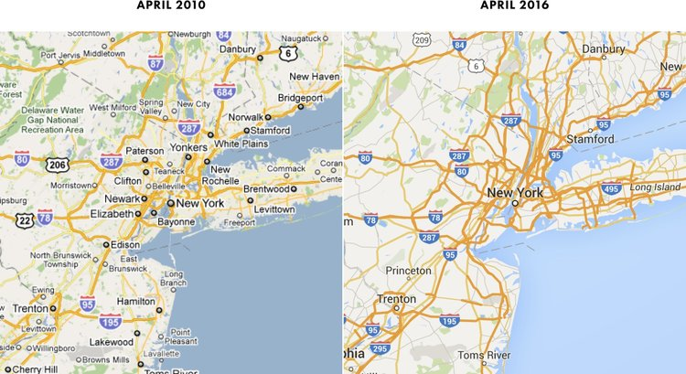 pictured above the same area and zoom in 2010 and 2016 notice how many fewer labels are on the 2016 map