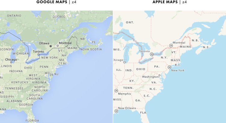 Cartography Comparison Part - Google maps entire us