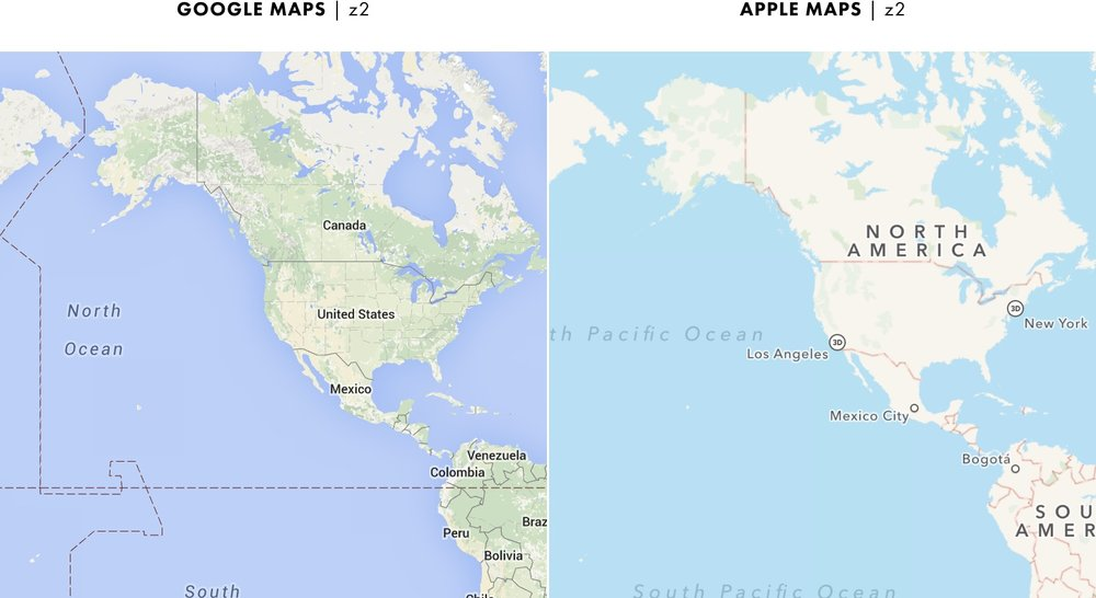Cartography comparison summary at the most zoomed in and zoomed out zoom levels google maps is more detailed than apple maps gumiabroncs Image collections