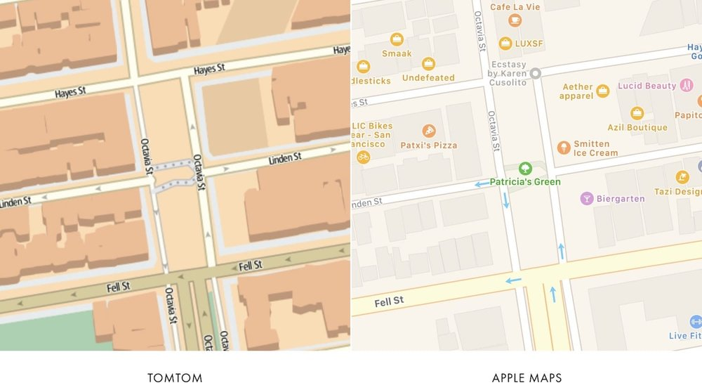 comparing the roads between the maps and ignoring their styling ie their colors and thicknesses apple appears to be using tomtoms road and path