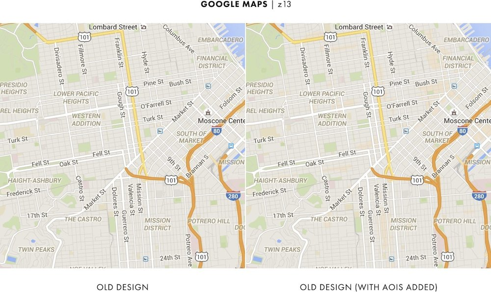 google mapss old design the left image and added the new areas of interest feature the right image but looking between the images its difficult