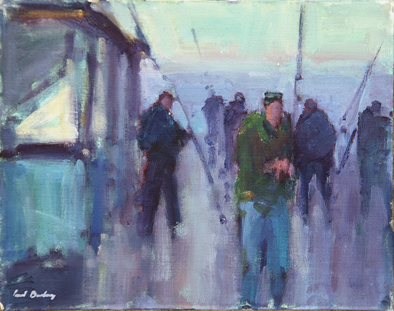 PIER FISHING:  8 x 10 in:  Oil