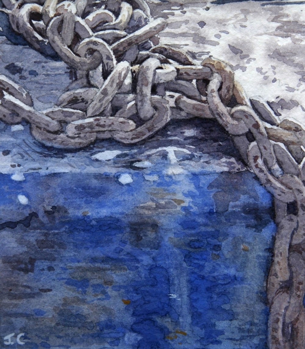 ANCHOR CHAIN AND BLUE BOAT:  4 x 3.5 in: Watercolour