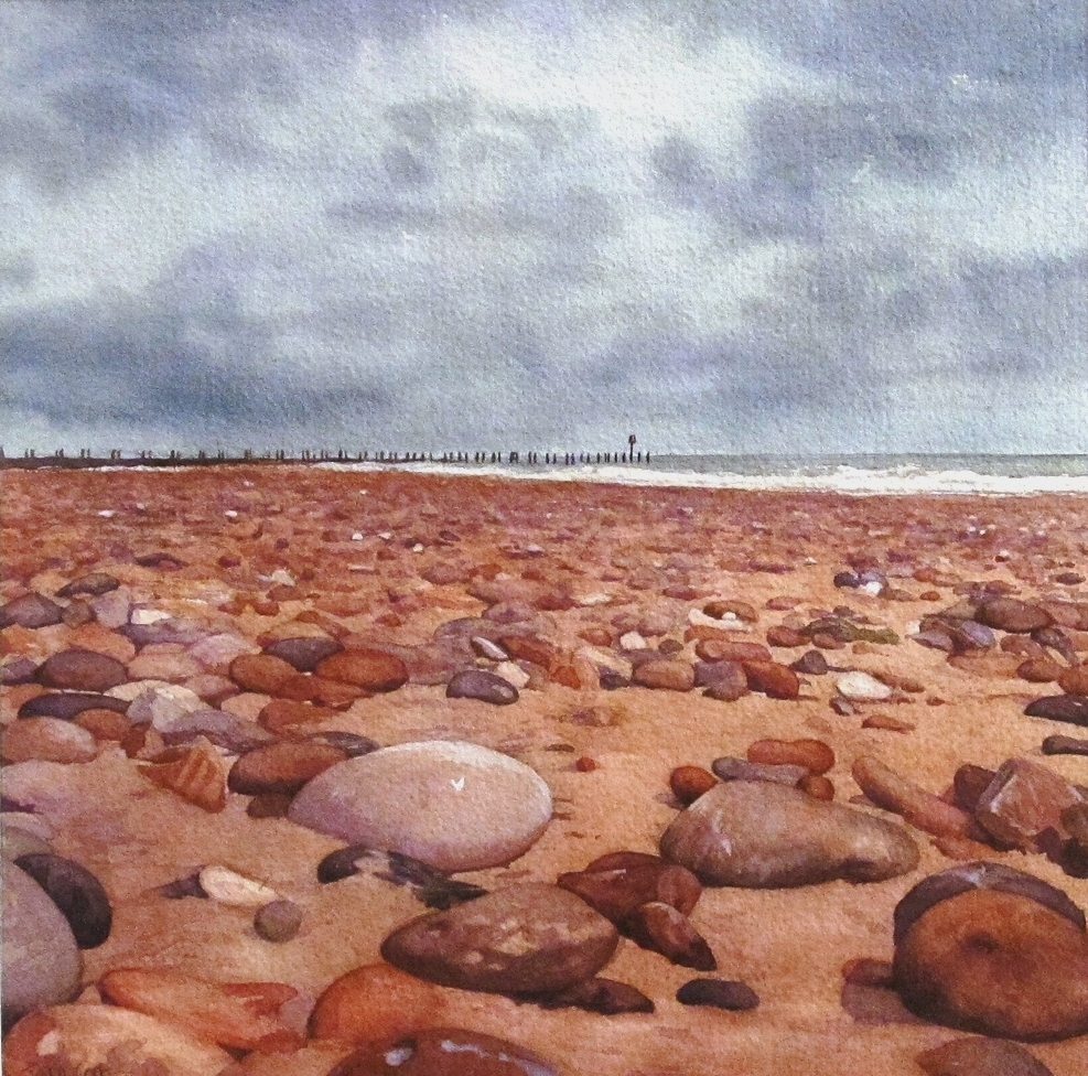 PEBBLES ON THE FORESHORE SOUTHWOLD:  10 x 10 in:  Watercolour