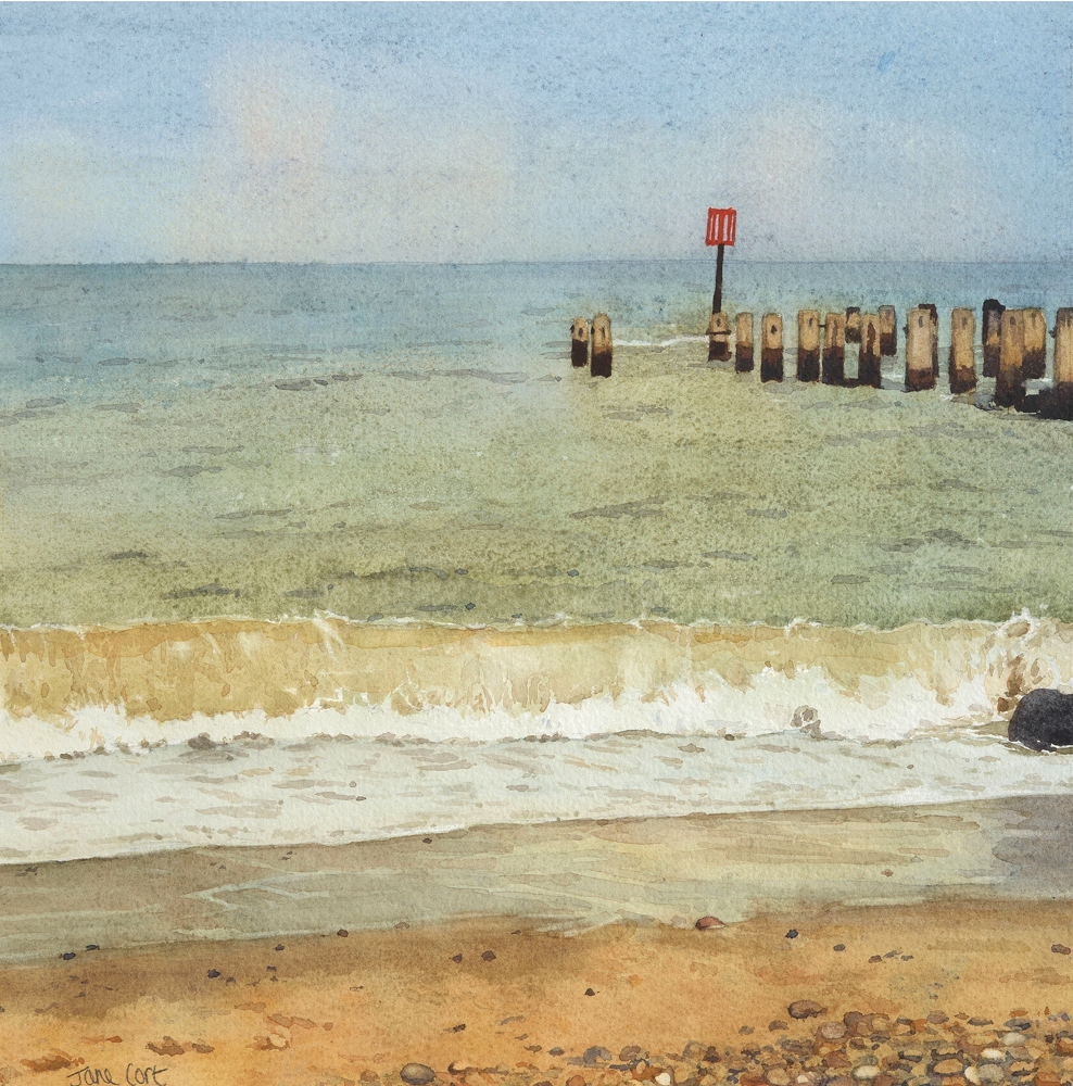 BREAKWATER AND SURF SOUTHWOLD:  10 x 10 in:  Watercolour