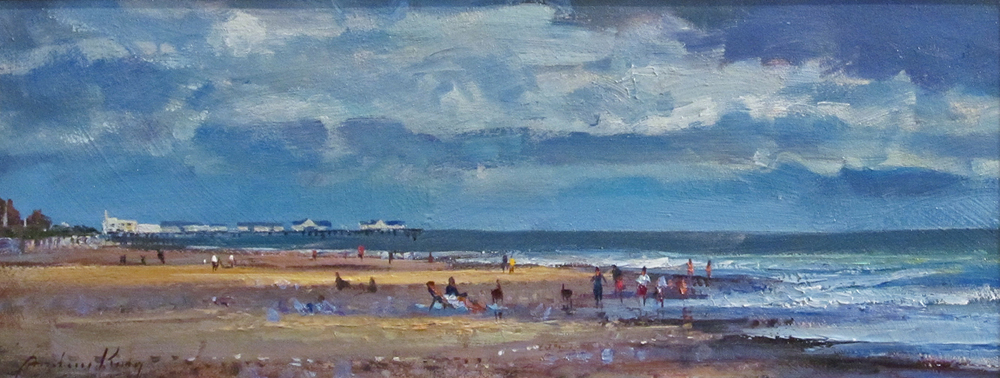 FIGURES AND SHADOWS SOUTHWOLD BEACH: 7 x 17 in: Oil