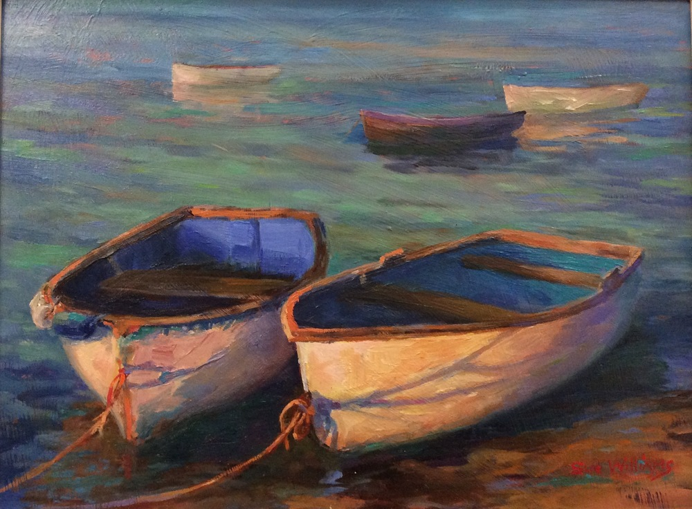 EVENING LIGHT FELIXSTOWE FERRY: 12 x 14 in: Oil
