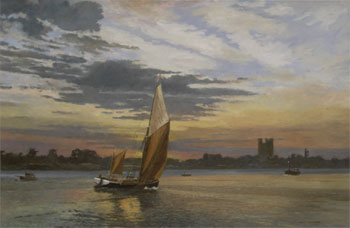 DUSK AT ORFORD: 20 x 30 in: Oil