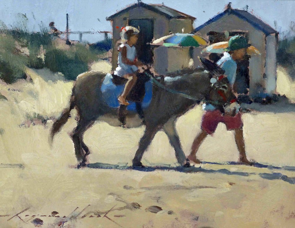 DONKEY RIDE SOUTHWOLD: 7 x 9 in: Oil