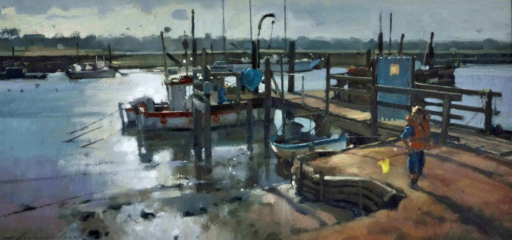 THEYELLOW NET BLACKSHORE: 12 x 24 in: Oil