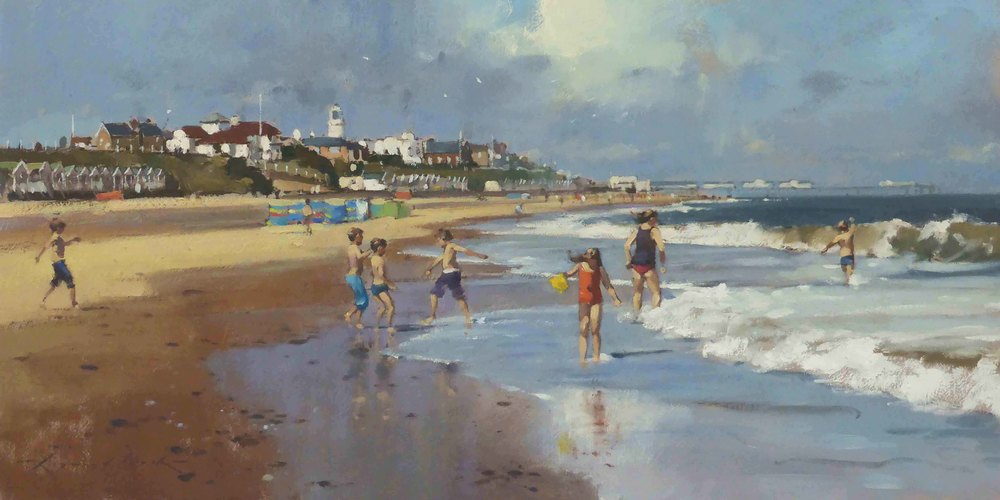 SUMMERTIME MEMORIES SOUTHWOLD: 12 x 24 in: Oil