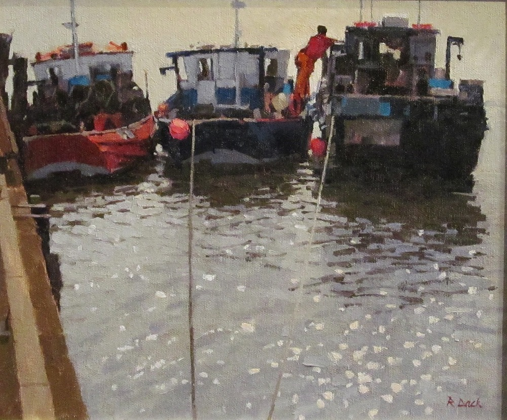WORKING BOATS BRIDLINGTON: 9 x 11 in: Oil