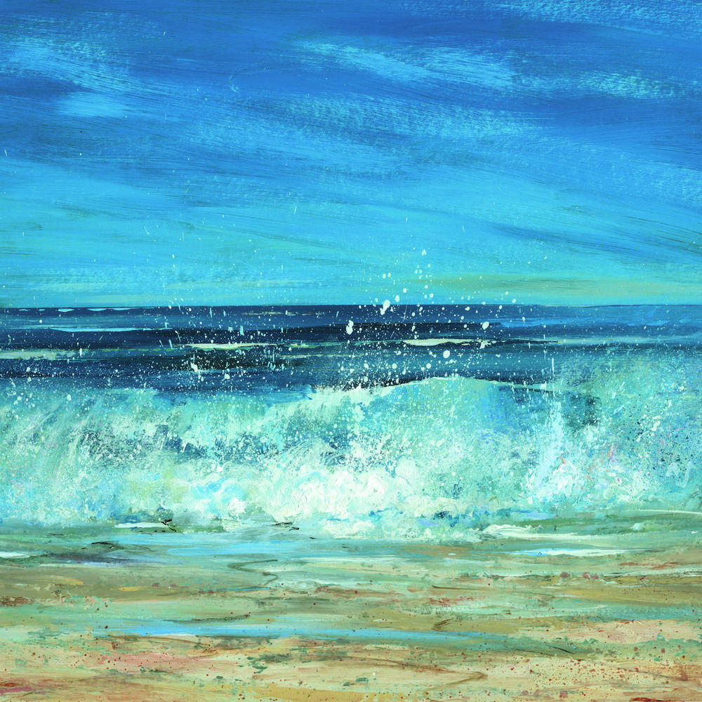 BREAKING WAVES ALDEBURGH: 18 x 18 in: Acrylic