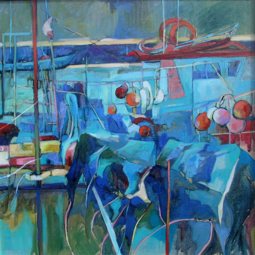 HARBOUR MOORINGS SOUTHWOLD: 32 x 32 in: oil on linen: