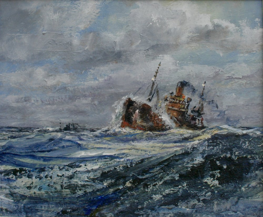 TRAWLERS LEAVING FISHING GROUNDS: oil