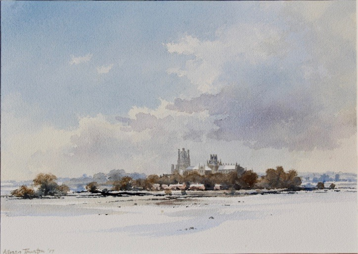 SNOW IN THE FENS - ELY: 10 x 14 in: watercolour