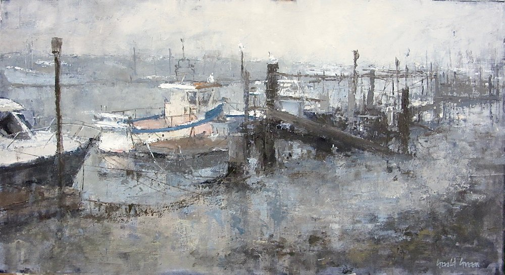 MIST AT SOUTHWOLD QUAY: 13 x 24 in: oil