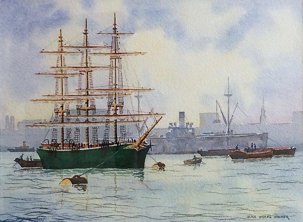 STEAM AND SAIL: 28 x 37 cm: watercolour