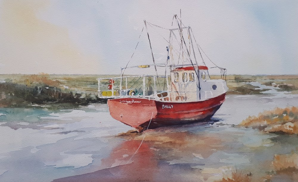 HIGH AND DRY BRANCASTER: 28 x 45 cm: Watercolour