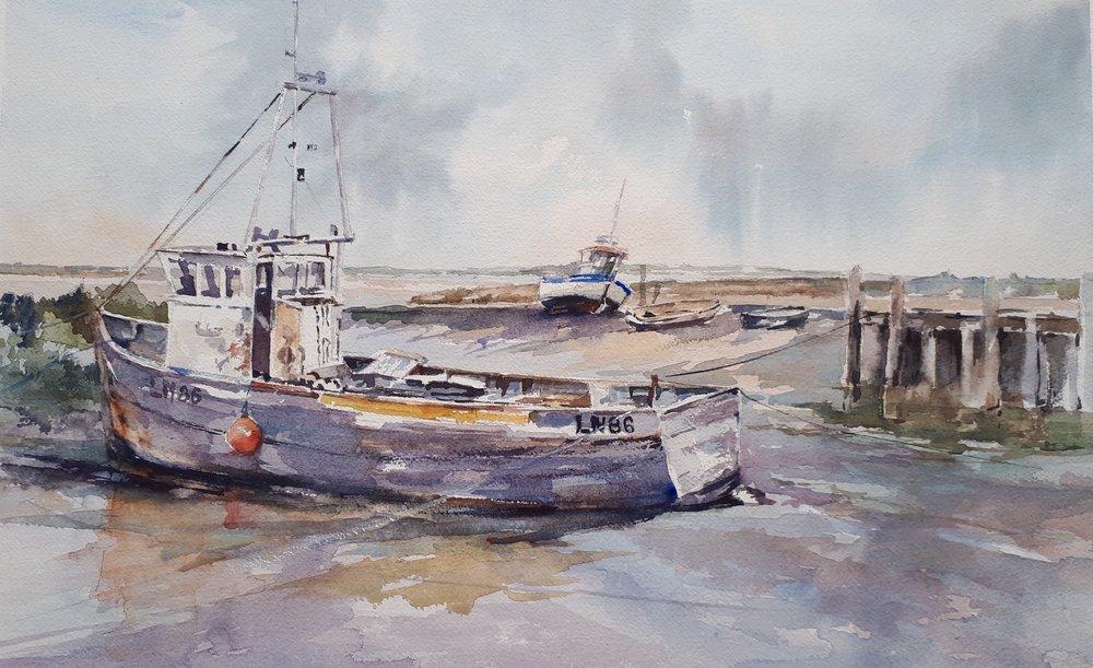 LOW TIDE BRANCASTER: 28 x 45 cm: Watercolour
