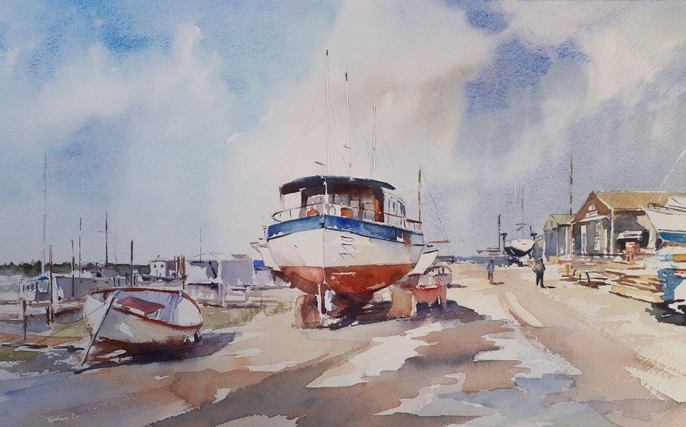 SOUTHWOLD HARBOUR: 28 x 45 cm: Watercolour