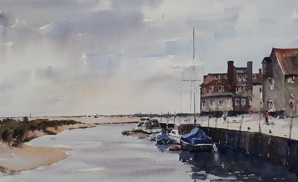 BLAKENEY QUAY: 28 x 45 cm: Watercolour