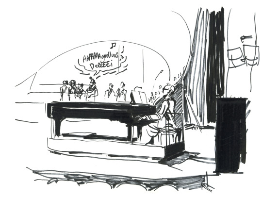 Drawing by  Camille Ulrich  from the dress rehearsal of Rossini's Petite Messe solennelle in Antibes last April. I'm wearing a skirt and making a good posture. :)