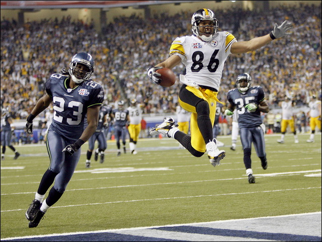 "Pittsburgh Steelers' Hines Ward jumps in the air and scores a 43- yard touchdown pass from wide receiver Antwaan Randle El during Super Bowl XL. lbpfb ""Super Bowl MVP"""
