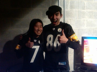 My friend Ling and I after the Steelers won the AFC Championship in 2011