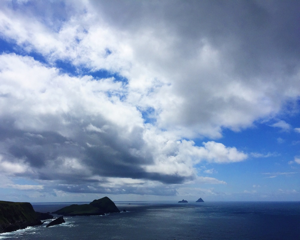 View of the Skellig islands from the cliffs of Kerry.