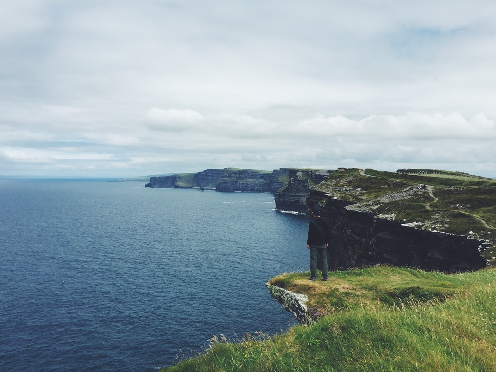 Looking at the Cliffs of Moher from the south.