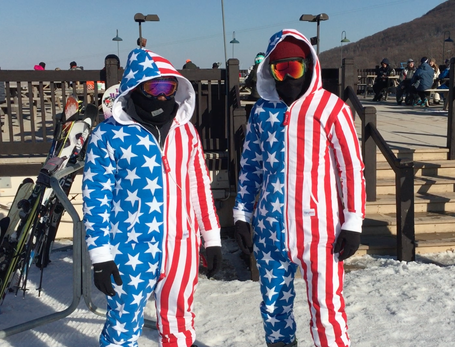 The best part about this is that we weren't the only ones snowboarding/skiing with an American flag jumpsuit that day.