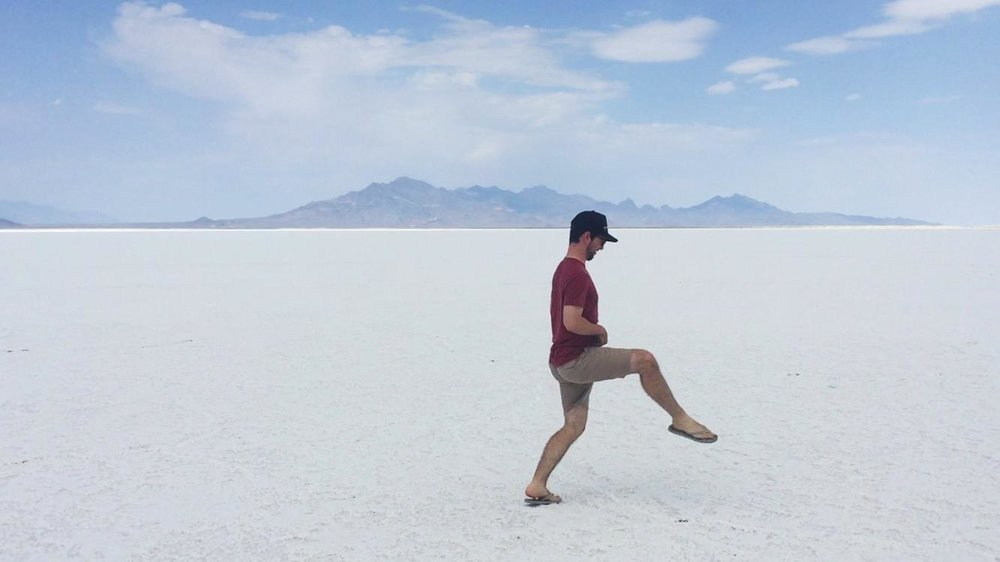When you're at the Bonneville Salt Flats, the obvious thing to do is film your friend Silly Walking across them and send the video to the rest of your friends.