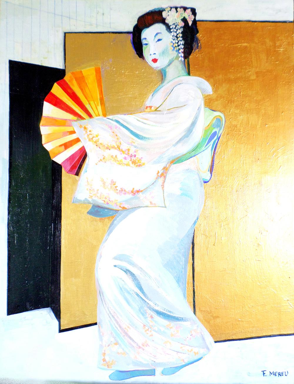 GEISHA CON VENTAGLIO, 70x90 cm