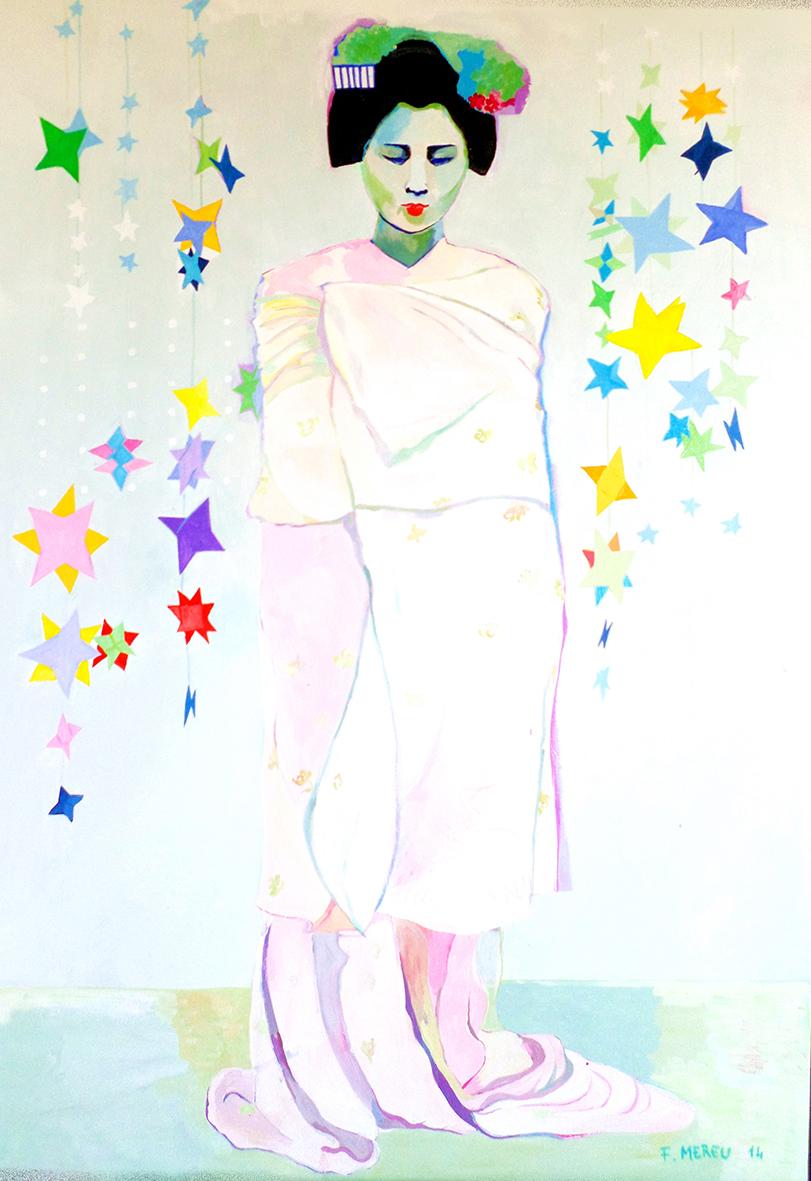 GEISHA E ORIGAMI, 70x100 cm