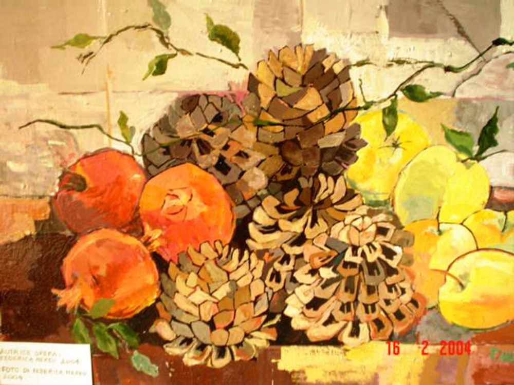 4. f. mereu, melograni e pigne, tempere su tela 40 x 50 cm, 2004.jpg
