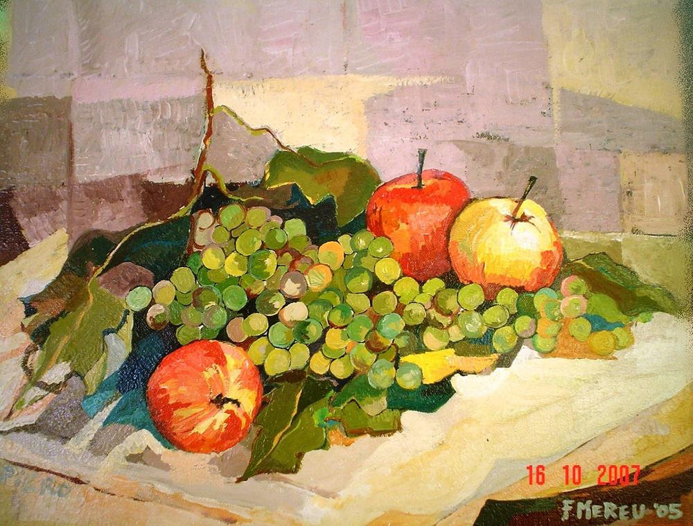 5. f. mereu, composizione di frutta con uva , tempere su tela, 2005.jpg