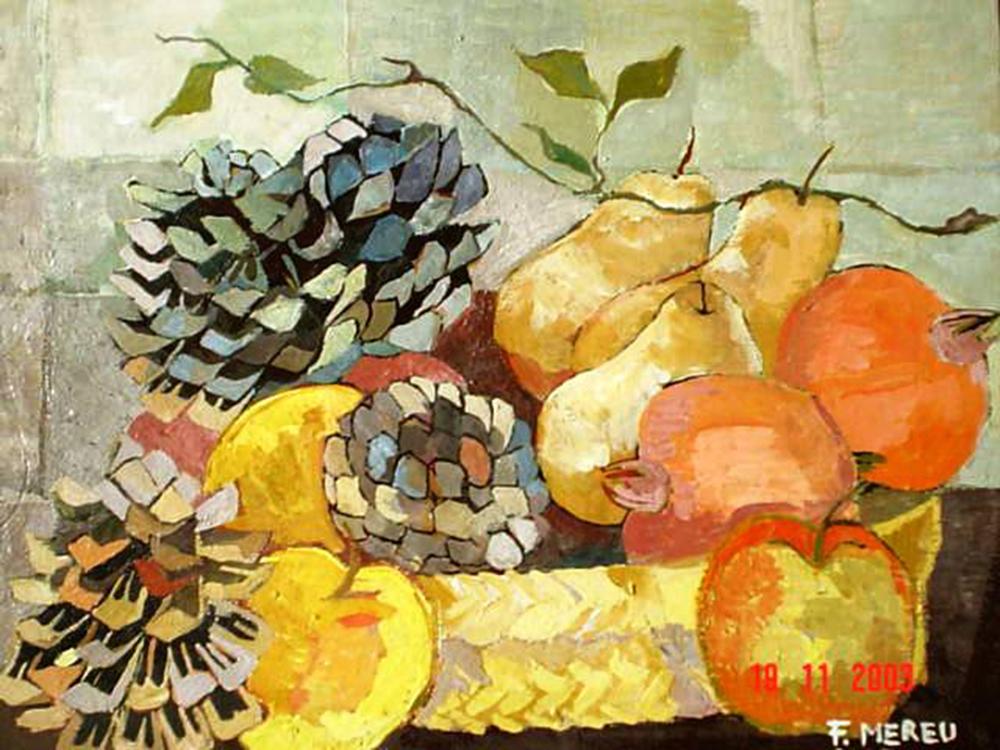7. f. mereu, frutta e pigne, tempere su tela 35 x 50 cm, 2003.jpg