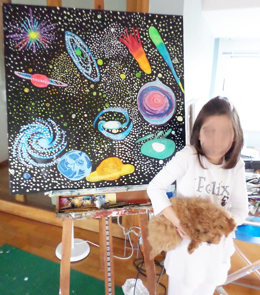 3. allieva 8 anni ha scelto di dipingere l'universo.JPG