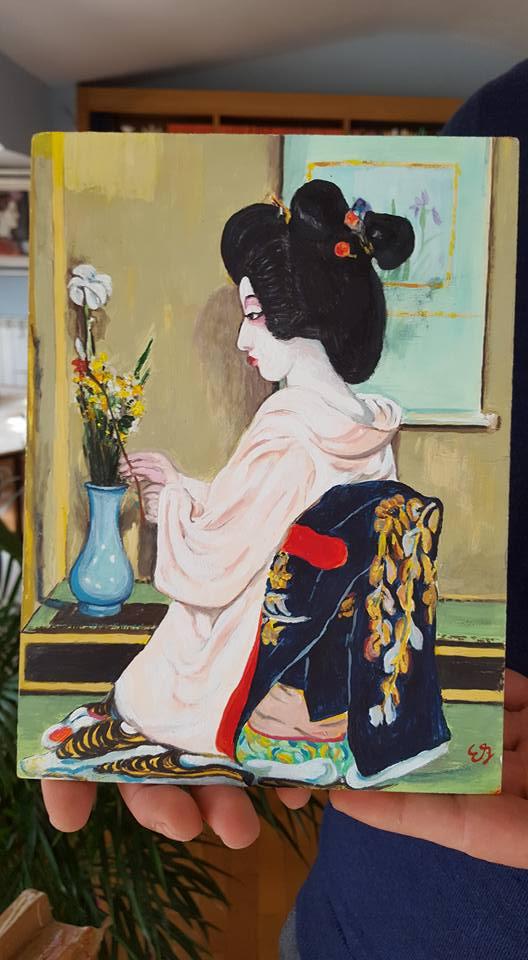 mini geisha, dipinta da un cardio-chirurgo