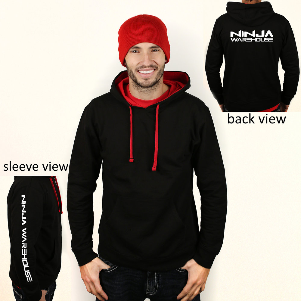adult elite hoodie . black with red lining in hood. breathable lightweight fabric that is perfect for athletic wear. *heavier fabric than our zip hoodie but still not a super warm lined hoodie* ninja warehouse logo printed on back and sleeve in white. **NEW - THIS YEAR WE ALSO HAVE THIS AVAILABLE IN RED WITH A BLACK HOOD & STRINGS** this hoodie is a lighter material Available in adult size only. sizes available: adult s, m, l  Price: $35+tax