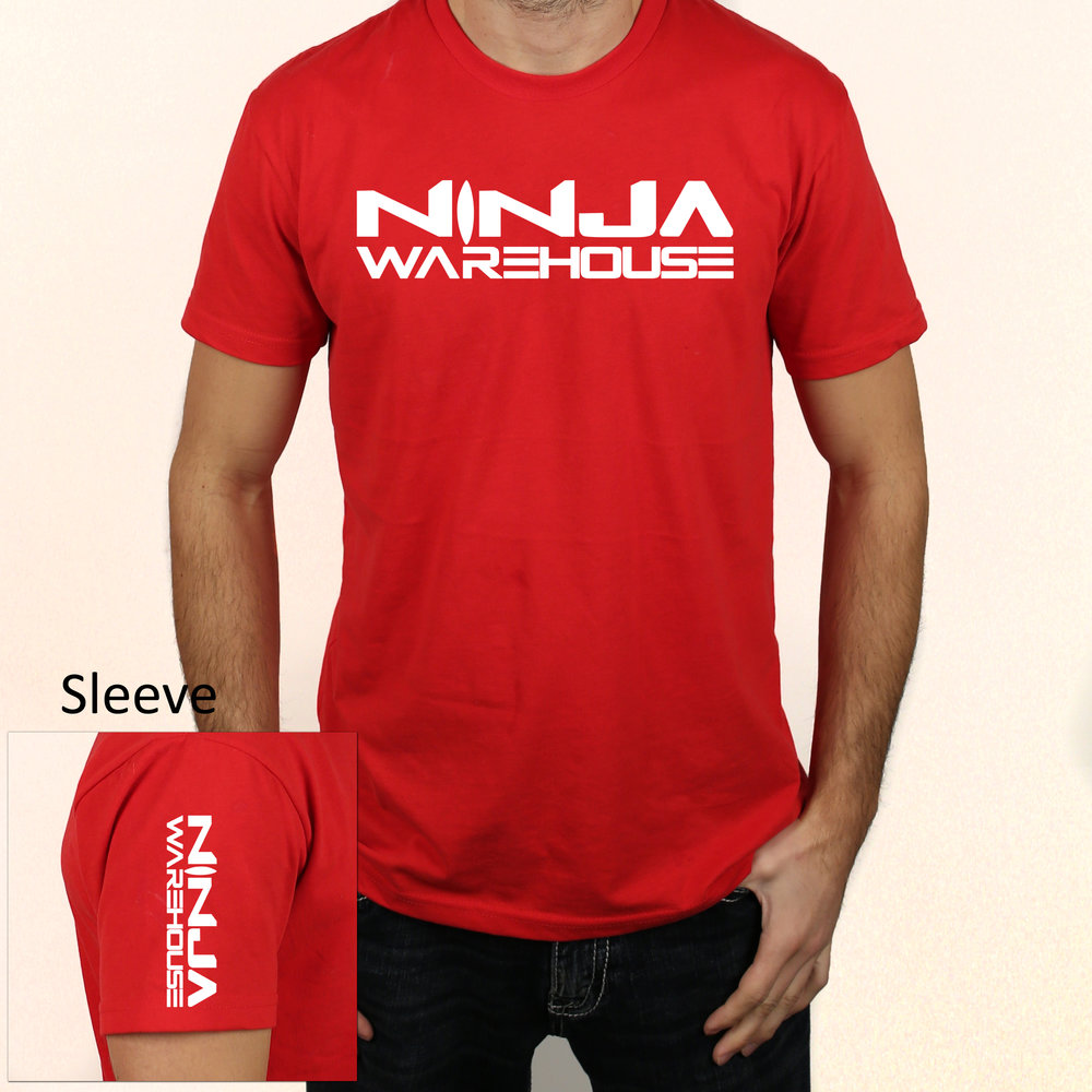 youth/adult t-shirt.  red. ninja warehouse logo printed on front and sleeve in white. available in toddler, youth and adult sizes. youth sizes available: xs (4-5), S (6-7), M (8) L (10-12) adult sizes available: s, m, l  youth price: $15+tax  adult price: $15+tax
