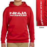 Youth/TODDLER pull over hoodie . red. ninja warehouse logo printed on front and sleeve in white.youth sizes have front pocket, toddler sizes have side pockets.          toddler sizes available: 4T, 5-6T  youth sizes available: S (6-8), M (10-12), L (14-16)   toddler price: $25+tax  youth price: $30+tax