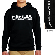 Youth/TODDLER pull over hoodie . black. ninja warehouse logo printed on front and sleeve in white.youth sizes have front pocket, toddler sizes have side pockets.          toddler sizes available: 4T, 5-6T  youth sizes available: S (6-8), M (10-12), L (14-16)   toddler price: $25+tax  youth price: $30+tax