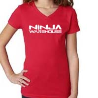 youth/toddler girls v-neck t-shirt.  Red.   ninja warehouse logo printed on front in white. youth sizes available: xs (3-4), S (6/6x), M (7-8), L (10-12) price: $15+tax