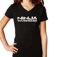 youth/toddler girls v-neck t-shirt.  black.   ninja warehouse logo printed on front in white. youth sizes available: xs (3-4), S (6/6x), M (7-8), L (10-12) price: $15+tax